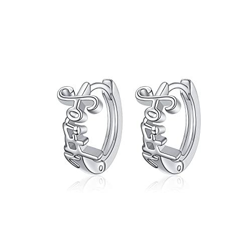 925 Sterling Silver Faith Hope Love Dainty Faith Cross Hoop Stud Earrings Religious Gift for Women Girls