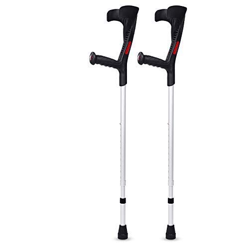 XYSQWZ Forearm Crutches - Ergonomic Handle Lightweight Cuff Crutch - Adjustable 10 Height Adjustable Stops - for Standard and Tall Adults Blue 1 Unit
