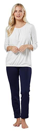 HAPPY MAMA Para Mujer Pijama Premamá Embarazo Lactancia Ropa de Dormir 1240 (Crudo con Puntos & Armada, 36, S)