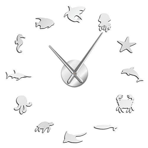 YQMJLF Reloj Pared DIY 3D Grande Decoración la habitación los niños Animales acuáticos Reloj Pared Reloj Sea Life 3D DIY Espejo acrílico Dormitorio Pegatinas Pared Mecanismo Cuarzo Plata