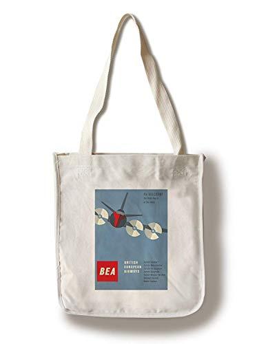 British European Airways Vintage Poster Suiza c. Bolsa de lona plegable para la compra