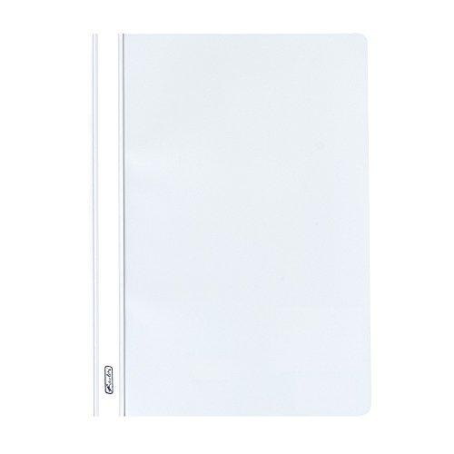 Herlitz 976472 Schnellhefter A4 PP mit transparentem Vorderdeckel, 10 Stück, weiß