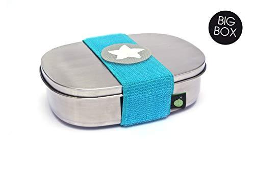 kjomizo I do Dotty BIGBOX schadstofffreie Edelstahl Brotdose mit Trennsteg und Klettmotiv zum Individualisieren für Kindergarten und Schule TÜRKIS