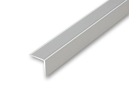 (6,39€/m) Treppenwinkel 30 x 30 x 900 mm silberfarben ungebohrt Treppen-Kantenprofil Stufen-Profil Alu-Winkel grob gerieft rutschhemmend Stufenprofil(30 x 30 x 900 (ungebohrt), silber)