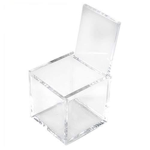 VIRSUS 50 Stück Transparente Plexiglasschachteln 5x5x5cm für Pralinen, für Hochzeiten, Taufen, Kommunionen, Feiern, Bonbonniere, Gastgeschenk, Geburten, Abschlussfeiern