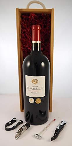 Chateau La Rose Gadis 2018 Bordeaux MAGNUM en una caja de regalo con cuatro accesorios de vino, 1 x 1500ml