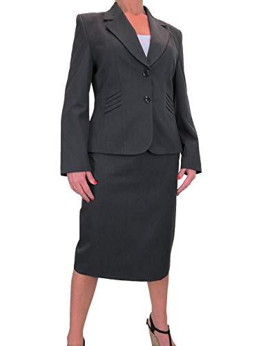 Dames 2-delige formele zakelijke pak Office werk blazer jas rok pak volledig gevoerd grijs 14-22
