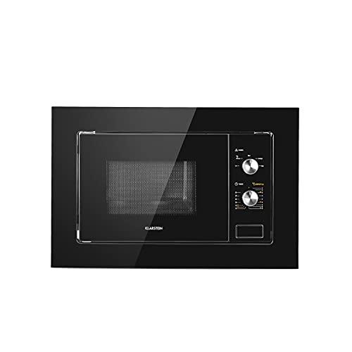 Klarstein Luminance microondas encastrable, 20 L, 800 W, descongelación, cocinado a fuego lento, 5 niveles de potencia, plato giratorio de 24,5 cm, 39 x 59,5 cm, frontal espejado, negro