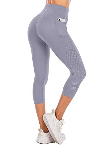 Steppe High Waist Women's Yoga Pants with Pockets Capri Workout Running Mesh Leggings Tummy Control Non-See-Through Compression Capris for Athletic Gym Exercise Fitness Light Purple-XL
