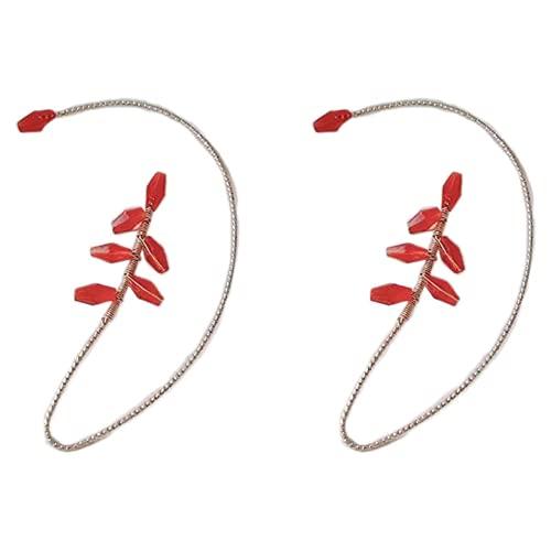 Ulyjcq 1 par de Auriculares Pendientes, Pendientes de Gancho de la Pista de la Oreja, Pendientes de bobinado de Cristal Elegantes Diseño Damas y Pendientes de niña