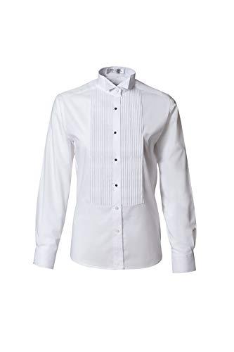 Camisa de esmoquin plisada con cuello de ala - blanco
