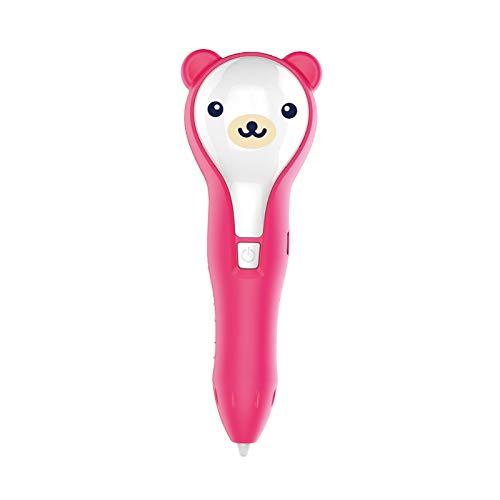 GXWBH 3D-Stifte Für Kinder USB-Aufladung Niedrigtemperatur-3D-Druckstift Für Erwachsene Einstellbare Geschwindigkeit Doodle Can Malen Auf Der Haut PCL 1.75 Filament Bequemer Betrieb(Color:Rosa)