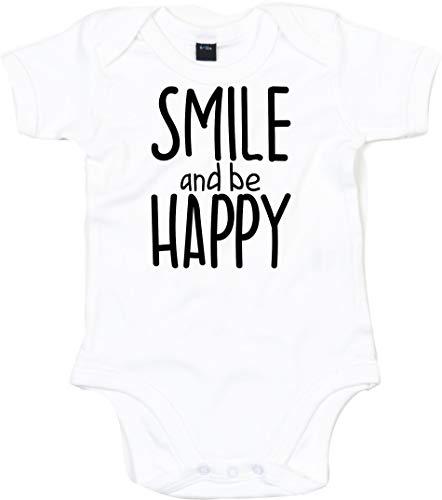 Kleckerliese Body pour bébé garçon avec motif smile et be Happy - Blanc - 6-12 mois