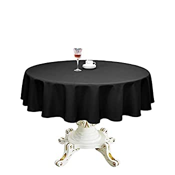 Romanstile Round Waterproof Tablecloth Stain Resistant and Wrinkle Free Table Cloths for Kitchen Dining/Party/Wedding Indoor and Outdoor Use Washable Polyester Table Cover  Black 60 inch