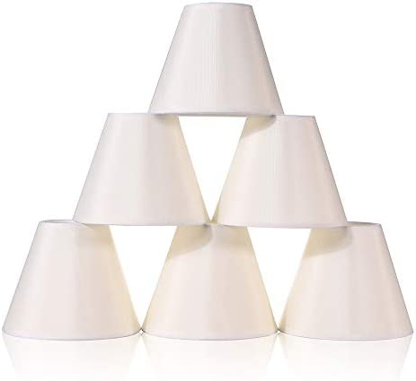 Wellmet 6 Pcs Empire Chandelier Lampshades Small Kit Clip on Fabric Faux Silk Lamp Shades for product image