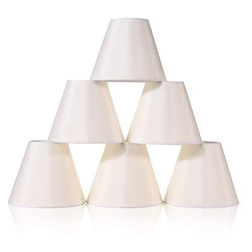 Wellmet Empire Chandelier Lampenschirme Small Kit, Clip auf Stoff Faux Silk Lampenschirme für Leuchten und Lampen, 15 * 8 * 13CM, Set von 6, Creme Weiß