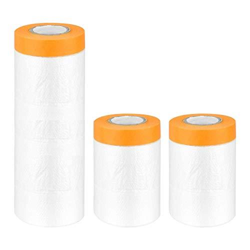 Paquete de 3 rollos de lámina antipolvo, protector de piso de alfombra impermeable a prueba de polvo para pintar, decorar, cubrir muebles