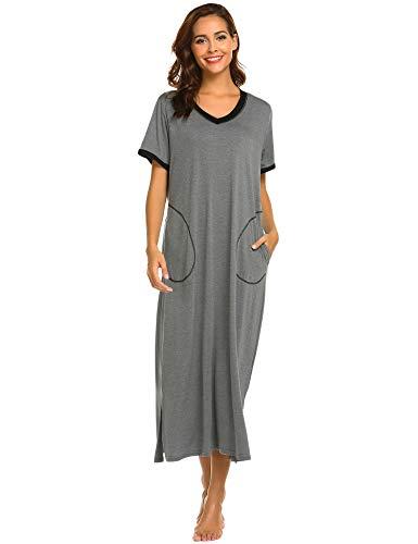 ADOME Nachthemd Baumwolle Damen still Pyjama lang weich Frauen Schlafkleid V-Ausschnitt Nachtkleid Sommer (S, 6619_dunkelgrau)