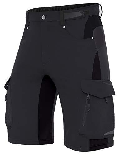 XKTTAC Herren MTB Kurz Hose, Mountain Bike MTB Shorts Fahrradhose für Herren (Schwarz, XL(Taille:34\'\'-36\'\'/86-91.5CM))
