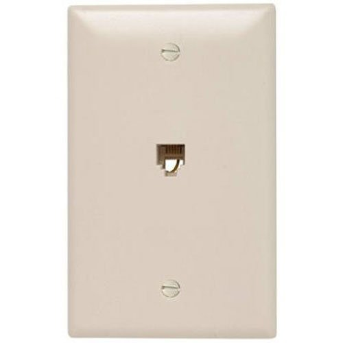 Legrand - Pass & Seymour TPTE1LACC12 Single Gang Modular Telephone Jack with Wall Plate, Four Conductor, Light Almond