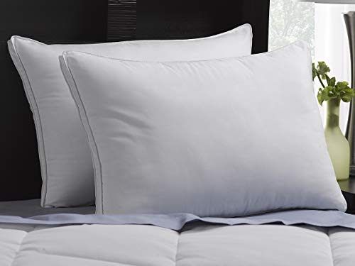 Ella Jayne Soft Exquisite Hotel Pillows Luxury Plush Gel Pillows (2-Pack) Peachy Soft Microfiber Gusseted Shell - Stomach Sleeper Pillows - Standard Size