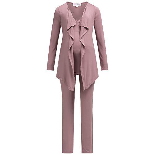 Herzmutter Pigiama Premaman per Donna - Pigiama da Allattamento a Tre Pezzi - Abbigliamento da casa per la Gravidanza e L'Allattamento - Cardigan con Pantaloni - 8100 (Rosa Scuro, XL)