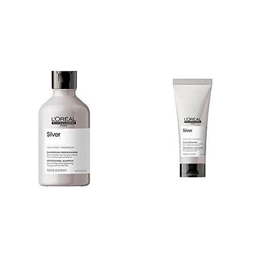 L'Oréal Professionnel Champú Neutralizador para cabellos grises, Silver, SERIE EXPERT, 300mL + Acondicionador Neutralizador y abrillantador para cabellos grises, blancos o rubios claros, Silver, 200mL