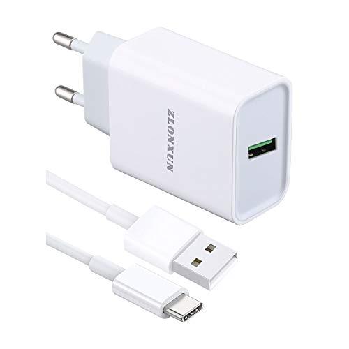 ZLONXUN Cargador rápido con Cable USB C 1m para Samsung Galaxy A21s/A20e/A51/A31/A40/A42/S10/S9/S10+/A41/A50
