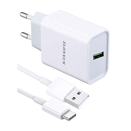 ZLONXUN Cargador rápido con Cable USB C 1m para Samsung Galaxy A21s/A20e/A51/A70/A31/A40/A42/S10/S9/S10+/A41/A10S/A10e/A50/A71/A80/A90/A6S
