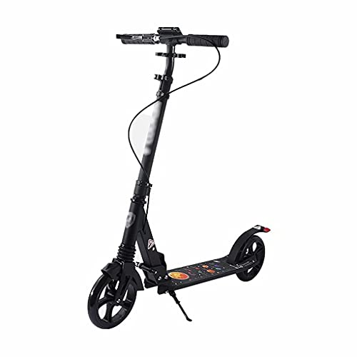 WZWHJ wunderschönen Klappungsroller Erwachsene Kinder Sport Roller Junge Freestyle Roller 3 Höhenverstellbare Anti-Skid-Gummihülse Große Räder (Schwarz) (Color : Black)