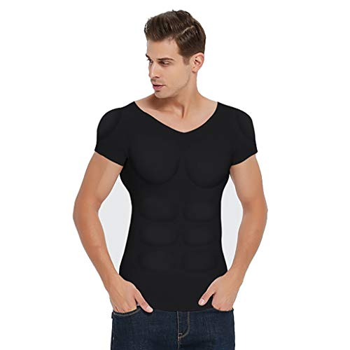 PAPIKOOL Hommes Fake Chest Muscle T-Shirt Muskel-Shirt Herren Gefälschte Brustmuskeln Kostüm Unsichtbar Simulation Schlank Unterwäsche Kurze Ärmel (Size : XL)