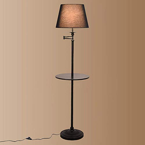 XXLYY Floor Lamp Middle Shelf Industrial Style Base Home Office Lighting Storage Standing Floor Light with Foot Switch and 2m Cable, E27 Uplighter Floor Lamp for Living Room Bedroom Corridor Stairs