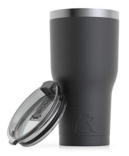 RTIC Vaso de viaje aislado, taza de acero inoxidable, bebidas calientes o frías, con tapa a prueba de salpicaduras, 30 onzas, color negro
