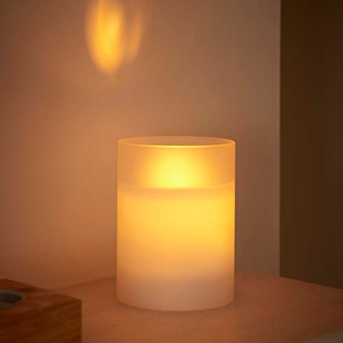 Auraglow Frosted Glass Realistic Flickering Flameless LED Decorative Candle with Safety Flame and Timer, Perfect Mood Light or Centrepiece