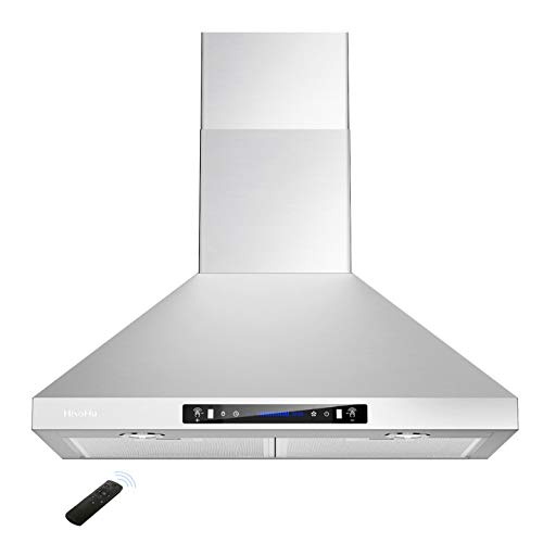 HisoHu Wall Mount Range Hood with Ducted/Ductless Convertible Duct, 36 Inch 780 CFM Stainless Steel Vent Hood, 4 Speed Gesture Sensing Exhaust Hood with Dimmable LED lights(A02-36')