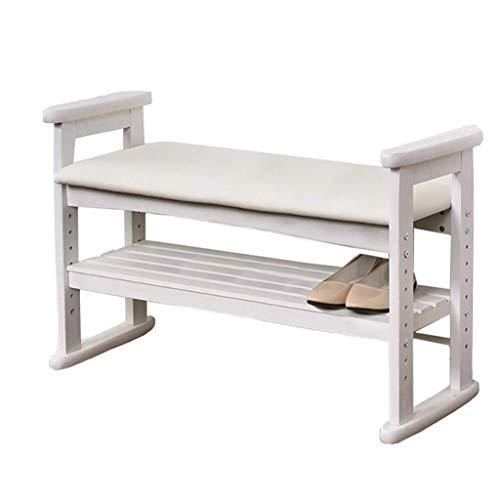 Ottomans - Mueble de madera compacto para puertas y zapatero, sin cajón, cómoda, con parte superior de esponja, diseño moderno, estilo elegante, banco para pasillo (tamaño : blanco).