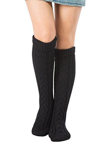 Women Slipper Floor Socks House Cable Knit Leg Warmers Knee High Length for Winter