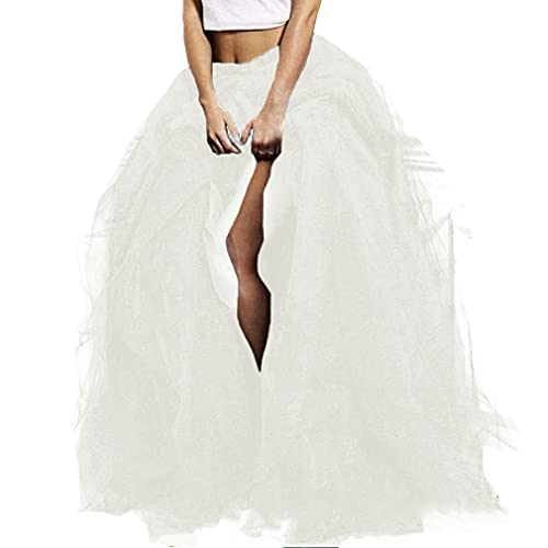 WDPL Long Women's Special Occasion Slit Tulle Evening Skirt (Ivory, Medium)