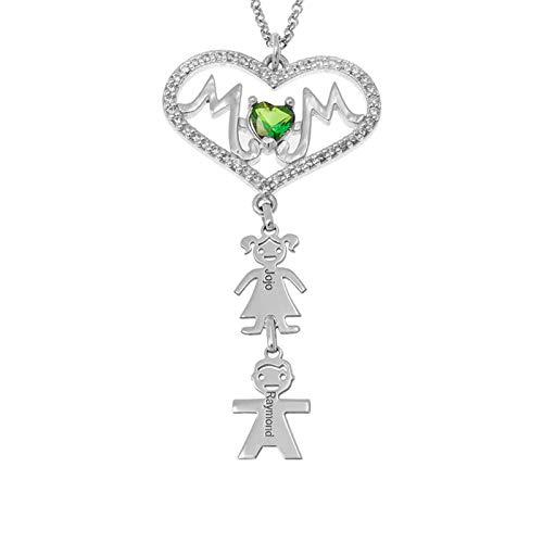 Collar con nombre personalizado Collar familiar Nombre grabado y piedra de nacimiento Corazón MOM y niños Colgante Aniversario(Plata 18)