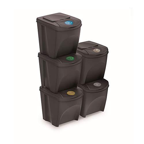 Prosperplast Juego de 5 Cubos de Reciclaje 125L Sortibox de plastico en Color Antracita, 5x25L