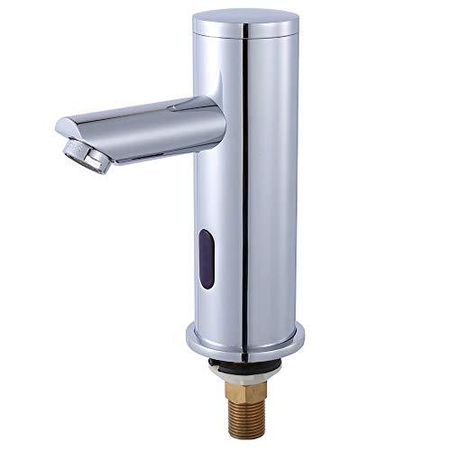 Nurisi 自動水栓 センサー水栓 単水栓 シングルレバー水栓 電磁弁内蔵設計 自動赤外線検知 銅合金製蛇口 余分な外部アクセサリがない 標準インターフェイスG1/2インチ (バッテリーを含まなく、別途購入する必要があります)GY8813(単水栓)