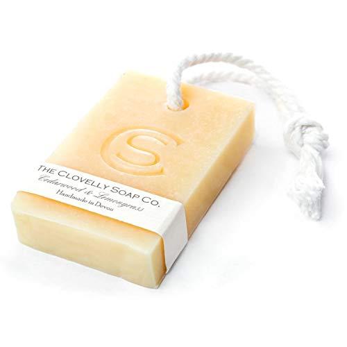 Clovelly Soap Co Natürliche handgemachte Seife Zedernholz & Zitronengras mit Schnur für alle Hauttypen 100g