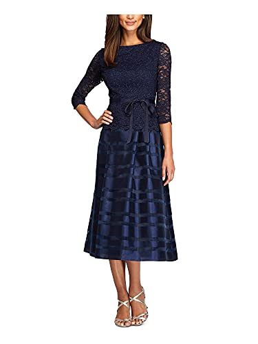 Alex Evenings Women's Tea Length A-Line Dress with Tie Belt (Petite and Regular Sizes), Navy, 12P