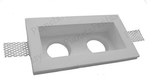 Pianetafantasy Lot de 10 supports doubles encastrables en plâtre céramique pour spots – Double PF2 + douille GU10 pour amples LED