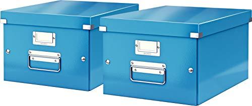 Leitz, Mittelgroße Aufbewahrungs- und Transportbox, Mit Deckel, Für A4, Click & Store (Blau, Mittel | 2er Pack)