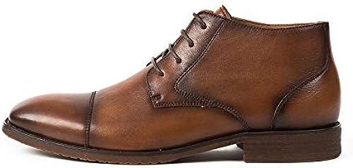 ZHRUI Stiefel Formales con Cordones para Hombre Stiefel con Suela Blanda, Duradera y Confortable (Farbe   braun, tamaño   EU 40)