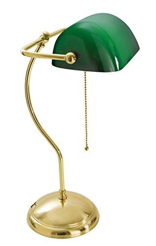 Tischleuchte Glasschirm Grün Echt-Messing Poliert Jugendstil Zugschalter Premiumqualität Bankerlampe Schreibtisch