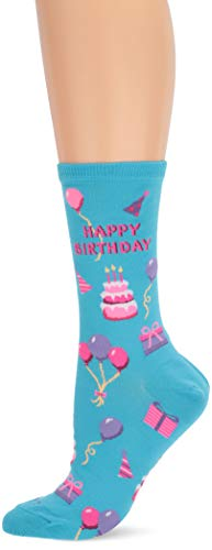 Hot Sox Women's Conversation Starter Novelty Casual Crew Socks, Happy Birthday (Light Blue), Shoe Size: 4-10