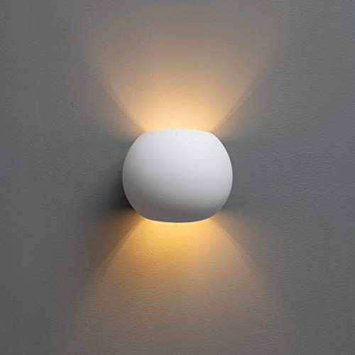 KOSILUM - Applique murale scandinave plâtre - Athena - Lumière Blanc Chaud Eclairage Salon Chambre Cuisine Couloir - 1 x 40 W - - G9 - IP20