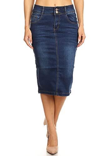 Women's Juniors Mid Waist Below Knee Length Denim Skirt in a Pencil Silhouette in M. Blue Size M